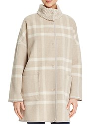 Basler Knit Collar Plaid Jacket Beige