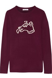 Bella Freud Dog Intarsia Wool Sweater Burgundy