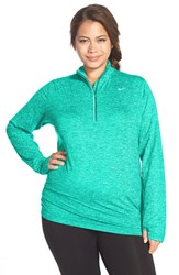 Nike Plus Size Women's 'Element' Dri Fit Half Zip Running Top Teal Charge Heather Silver