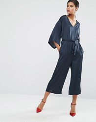 Asos Belted Satin Jumpsuit With Kimono Sleeve Navy Orange