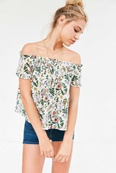 Cooperative Floral Off The Shoulder Tee Neutral Multi