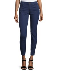 Minnie Rose Skinny Stretch Twill Ankle Pants Sapphire Blue