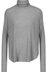 Majestic Ribbed Stretch Jersey Turtleneck Top Gray