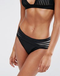 Luxe Lane Strappy Bandage Bikini Bottom Black