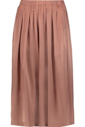 Iris And Ink Pleated Silk Satin Culottes Antique Rose