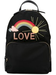 Red Valentino Rainbow Appliqua Backpack Black