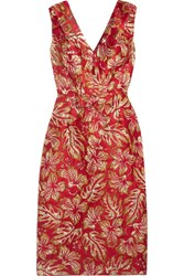 Prada Metallic Floral Jacquard Midi Dress Red
