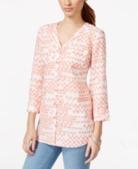 Jm Collection Printed Linen Button Front Shirt Only At Macy's Angles Peach