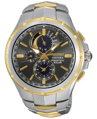 Seiko Men's Solar Chronograph Coutura Two Tone Stainless Steel Bracelet Watch 44Mm Ssc376 No Color