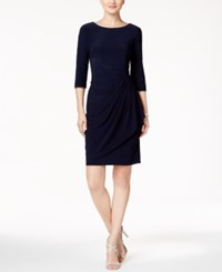 Alex Evenings Embellished Ruched Faux Wrap Dress Navy