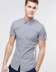 Asos Skinny Shirt In Navy Gingham Check With Short Sleeves Navy