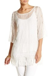 Love And Liberty Fringe Hem Embroidered Sheer Silk Blouse White