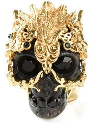 Alexander Mcqueen Skull Cocktail Ring Black