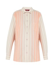 Sies Marjan Striped Brushed Cotton Shirt Pink Stripe