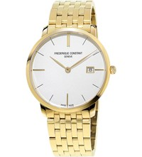 Frederique Constant Fc220v5s5b Slimline Yellow Gold Plated Stainless Steel Watch White