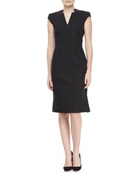 Zac Zac Posen Cap Sleeve V Neck Day Dress Black