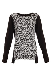 Tibi New York Leopard Ls Easy Sweater