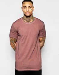 Asos Longline T Shirt With Crew Neck And Oil Wash In Rust Pinky Rust
