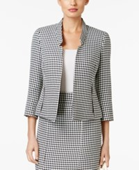 Kasper Houndstooth Open Front Jacket Black White