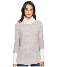 Three Dots Faux Double Sweater Granite Combo Women's Clothing Black