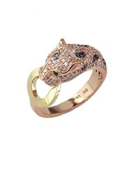 Effy White And Black Diamond Emerald 14K Rose And Yellow Gold Ring 0.66 Tcw