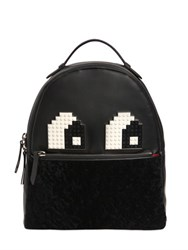 Les Petits Joueurs Mick Eyes Leather And Shearling Backpack