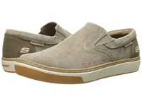 Skechers Relaxed Fit Palen Tiago Taupe Canvas Men's Slip On Shoes