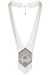 Sunahara Beaded Chandelier Necklace Metallic Silver