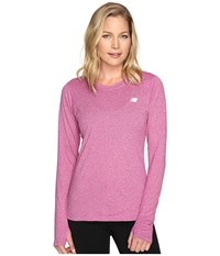 New Balance Heathered Long Sleeve Shirt Jewel Heather Women's Long Sleeve Pullover Pink