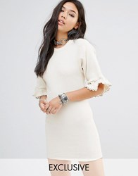 Milk It Vintage Dress In Light Rib With Lace Trim Sleeves Beige