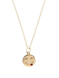 Alison Lou Diamond And Yellow Gold Tongue Out Face Necklace