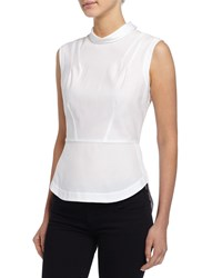 Bcbgmaxazria Sleeveless Stretch Poplin Blouse White