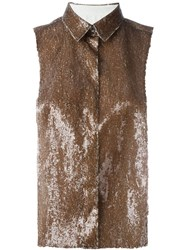 Maison Martin Margiela Mm6 Maison Margiela Sequined Sleeveless Button Down Tank Brown