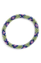 Women's Aid Through Trade Roll On Beaded Stretch Bracelet Green Blue Pink