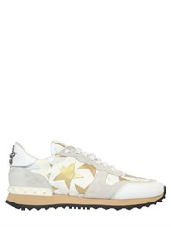 Valentino Camouflage Stars Canvas And Suede Sneakers