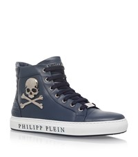 Philipp Plein Skull High Top Sneakers Male Blue