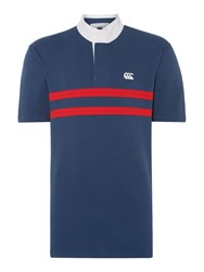 Canterbury Of New Zealand Two Stripe Grandad Collar Regular Fit Polo Shirt Denim