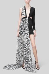 Versace Versus Macro Leopard Print Evening Dress