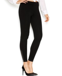 Guess Mid Rise Studded Leggings Jet Black