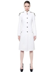 Balmain Embellished Cotton Velour Coat White