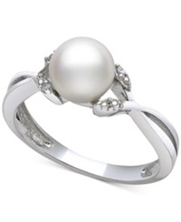 Macy's Cultured Freshwater Pearl 7Mm And Diamond Accent Twist Ring In Sterling Silver
