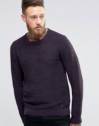 Lee Winter Crew Knit Jumper Maroon 2 Tone Maroon Port Red