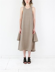 Creatures Of Comfort Lilith Dress Silk Linen Artichoke