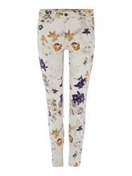 Oui Floral Printed Jeans White
