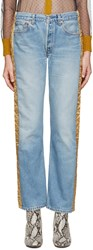 Bless Blue And Gold Padded Jeans