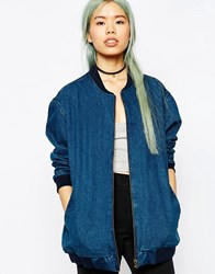 Asos Denim Oversized Bomber Jacket Mid Wash Blue