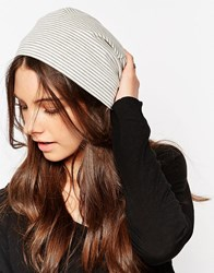 Hat Attack Soft Knit Slouchy Beanie Grey Stripe