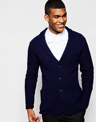 United Colors Of Benetton Knitted Blazer In Slim Fit Navy