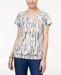 Jm Collection Printed Banded Hem Top Only At Macy's Tan Yellow
