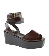 Maje Fedya Leather Sandals Female Dark Brown